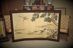 Antique Japanese Hand Painted Wall Screen  Circa by DLDowns