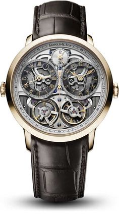 """Arnold & Son DBG Skeleton Arnold & Son unveils a new rendition of its unique DBG dual-time (GMT) timepiece, the DBG Skeleton. An acronym for """"double balance"""" and """"GMT"""", the DBG Skeleton – a part of the Instrument Collection – references the precise chrono Armani Watches, Luxury Watches, Patek Philippe, Cool Watches, Watches For Men, Latest Watches, Wrist Watches, Men's Watches, Devon"""