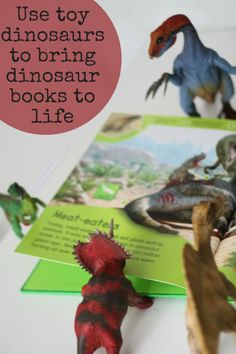 Use toy dinosaurs to bring dinosaur books to life and get more play value out of the book and the toys