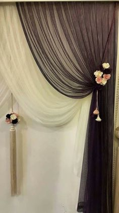 This would be gorgeous with a crystal bead curtain in front of the closet. Maybe I could take out the sliding door? Luxury Curtains, Elegant Curtains, Home Curtains, Sheer Curtains, Window Curtains, Curtain Styles, Curtain Designs, Window Coverings, Window Treatments