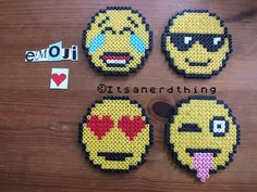 4 Emoji coasters Hama perler beads by Itsanerdthing