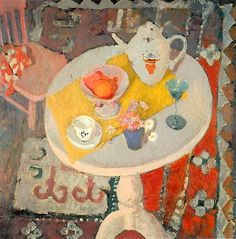 Anne Redpath - still life with teapot on round table, 1945. @Kate Mazur lyden xx
