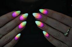 Indigo Gel Polish Neon Violet, Neon Yellow, Neon Pink by Katarzyna Stachura, Indigo Young Team #nails #nail #neon #ombre #pink #fluo #yellow #omg #wow #indigo