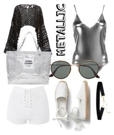 """""""#metallic #swimwear #solidtitanium"""" by kayceetruong on Polyvore featuring Boohoo, Topshop, Rosetta Getty, Opening Ceremony and Ray-Ban"""