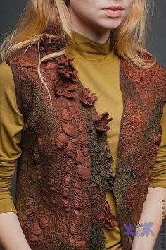 """Купить Болеро """"Вековые деревья"""" - коричневый, абстрактный, подарок подруге, авторский жилет, модный жилет"""
