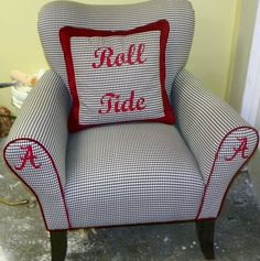 chair in houndstooth with Alabama As and crimson piping. Roll Tide accent pillow