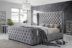 Grey Velvet Bed Frame - Today there are many type of bed frames out there such as loft bed frames. Loft bed frames are kinds Tuffed Bed, Velvet Bed Frame, Grey Bed Frame, Upholstered Bed Frame, Tall Headboard, Bedroom Bed Design, Bedroom Colors, Grey Bedroom Decor, Bedroom Ideas