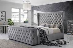 Grey Velvet Bed Frame - Today there are many type of bed frames out there such as loft bed frames. Loft bed frames are kinds Tuffed Bed, Velvet Bed Frame, Grey Bed Frame, Upholstered Bed Frame, Tall Headboard, Bedding Master Bedroom, Bedroom Carpet, Bedroom Decor, Bedroom Ideas