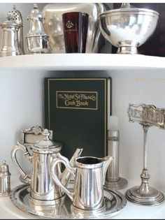 A vignette of Hotel silver - part of a larger collection owned by the proprietor of the Paris Hotel Boutique.