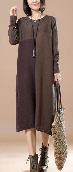 Khaki woman plus size sweaters knit dresses