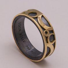 Circles Band 14k Gold and Oxidized Silver Ring by doronmerav