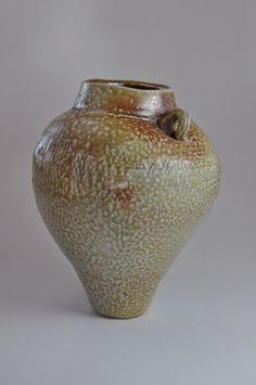 Hand built woodfired ceramic pottery vase jugs ash and salt glazed