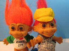 2 vintage russ troll dolls worker w/toolbox & by maryscrochetnmore