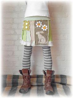 Daisy Hare Upcycled Skirt Cute Festival Hippie by TheTopianDen