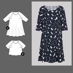 Stoff & Stil Dress & Blouse 73013 - The Foldline Curvy Fashion, Womens Fashion, Dress Making Patterns, Blouse Dress, Needle And Thread, Dressmaking, Sewing Patterns, Short Sleeve Dresses, Spring Summer
