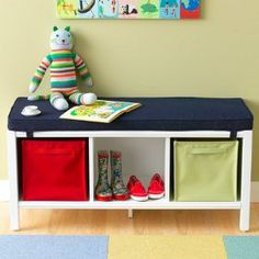 I love this three cube kids storage bench from The Land of Nod simply because it's so versatile. You can use it at the end of your child's bed, in an entryway, in a playroom, to create a little window seat or a book nook etc. Cube Storage Bench, Diy Storage Bed, Playroom Storage, Bedroom Storage, Playroom Ideas, Storage Ideas, Nursery Storage, Kitchen Storage, Living Room Playroom