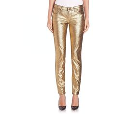 Versace Collection Metallic Jeans (930 TND) ❤ liked on Polyvore featuring jeans, apparel & accessories, gold, white jeans, metallic jeans, versace, lined jeans and zipper jeans