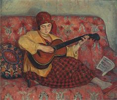Henri Lebasque (French, 1865-1937) Young girl with guitar (1923) Private collection Painting - oil on canvas