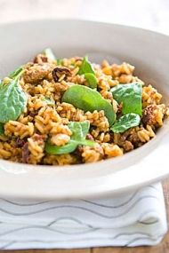 Chorizo and Sun-Dried Tomato Rice with Spinach