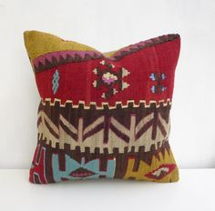 Colorful Ethnic Pillow cover Made with a Vintage by SophiesBazaar, $48.00