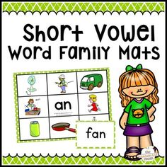 Teach Your Child To Read How To - Teach your child to master words with short vowels with these colorful, interactive word and picture mats! - TEACH YOUR CHILD TO READ and Enable Your Child to Become a Fast and Fluent Reader! Short Vowel Activities, Word Family Activities, Reading Activities, Short E Words, Sounding Out Words, Short Vowel Sounds, Word Building, Sentence Building, Short Vowels