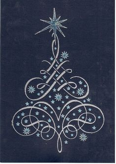Blue Christmas Card with Tree - Handmade rubber stamped Christmas card that a friend sent me.