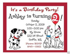 101 Dalmations Invitations Kennas second birthday Pinterest