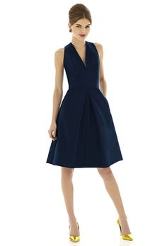 Brides.com: Navy Blue Bridesmaid Dresses. Style D612, peau de soie bridesmaid dress in midnight, $190, Alfred Sung available at Weddington Way  See more Alfred Sung bridesmaid dresses.