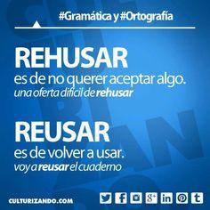 «rehusar» vs. «reusar» #ortografía #español.