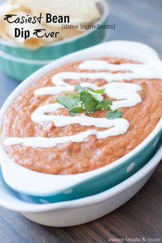 Easiest Bean Dip EVER! Only three ingredients to this cheesy, flavorful bean dip that's PERFECT for game day and parties! recipe on sweettreatsmore.com