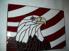 stained glass eagle and american flag