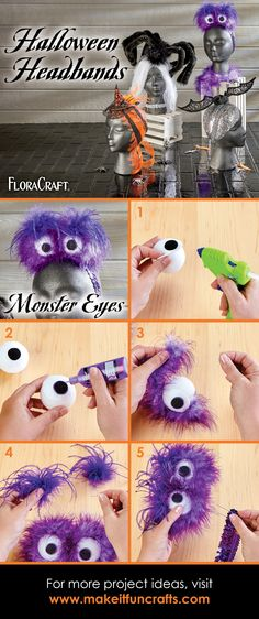Last minute monster eyes headband Halloween costume idea that is easy to make with this full craft tutorial! #makeitfuncrafts