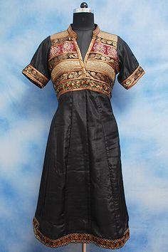 Black Anarkali Silk Kurti, Formal Emroidery silk kurti, Hand work in front, Golden zari work on yoke.