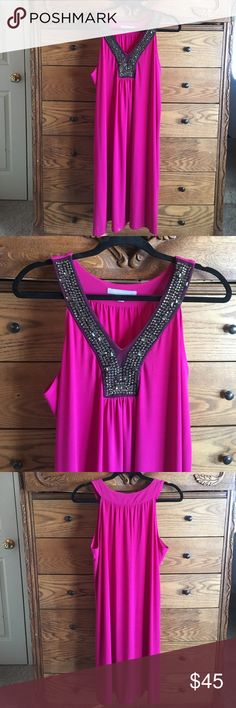 Elegant, comfy dress Beautiful pink dress with metallic detail on neckline. Worn once to a graduation so it's in excellent condition. Looks great with a pair of nude pumps or booties. NY Collection Dresses