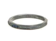 Oxidized sterling silver and Australian sapphires