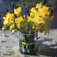 gesso cathleen rehfeld Daily Painting: Joyful Spring Daffodils (oil on black gesso. Really intrigued by the black gesso look. Art Floral, Abstract Flower Art, Floral Watercolor, Rose Oil Painting, Yellow Painting, Fine Art Auctions, Colorful Paintings, Fine Art Gallery, Daffodils