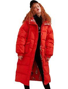 7a9f067c158888 Elf sack Damen Wintermantel Daunenmantel Warm Lange Daunenjacke mit Kapuze  Aufdruck Daunen Outdoor Parka Steppmantel Rot