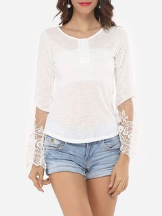 Lace Patchwork Plain Delightful Round Neck Long-sleeve-t-shirts