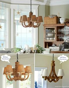 DIY Rope Chandelier: http://www.completely-coastal.com/2016/02/rope-chandeliers.html Wrap an old chandelier with rope for a nautical touch and rustic feel!