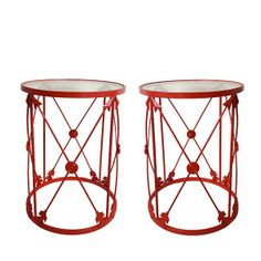 "Red Arrow Tables $479.00 - Pair of peppy high gloss red arrow tables with glass top. 16.5"" L x 22"" H"