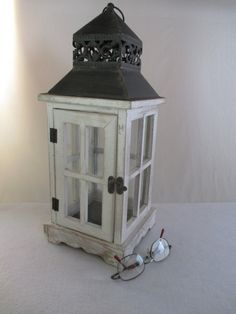 Candle Lantern, Tin, Punched Design, Outdoors Candle Holder, Vintage Lighting by HobbitHouse on Etsy