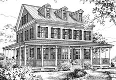 house plan two floors wrap around porch dormers - Farmhouse Plans Southern Living