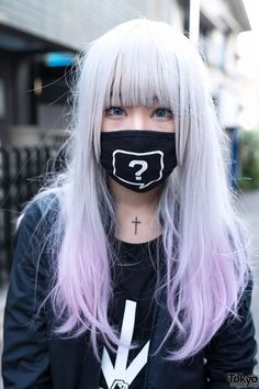 japan japanese street style asian trendy pastel pastel hair mask cross Japanese Fashion Harajuku Street Snap street fashion pastel wig