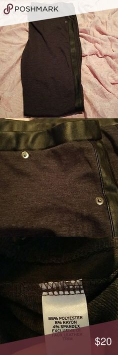 Trouve pants Gray pants with faux leather trim. Amazing with a black top. 88% polyester, 4% spandex. Steal at this price Trouve Pants