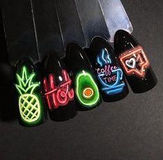 Christmas Nail Designs - My Cool Nail Designs French Acrylic Nails, Cute Acrylic Nails, Cute Nails, Pretty Nails, French Nails, Funky Nails, Neon Nails, My Nails, Christmas Nail Designs