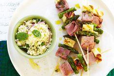Holumi , ham and asparagus