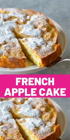 With chunks of sweet apples nestled in a tender and buttery rum cake, this French apple cake is the essence … Apple Cake Recipes, Baking Recipes, Dessert Recipes, Just Desserts, Delicious Desserts, Apple Desserts, French Apple Cake, Mini Tortillas, Rum Cake