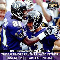 On this day (September 1, 1996): The Baltimore Ravens defeated The Oakland Raiders 19-14 in their Inaugural NFL Game.   #NBCSports