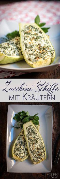 Zucchini Schiffchen mit Hüttenkäse-Kräuterfüllung