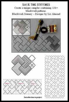 INTRODUCTION TO - Save The Stitches BY Elizabeth Almond of Blackwork Journey. This is an ongoing project eventuating in 131 blackwork patterns. Blackwork Cross Stitch, Blackwork Embroidery, Cross Stitch Charts, Cross Stitching, Cross Stitch Embroidery, Embroidery Patterns, Cross Stitch Patterns, Needlepoint Designs, Needlepoint Stitches